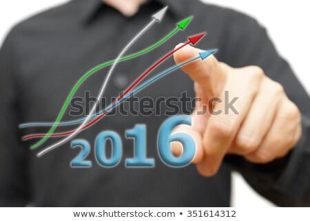 Iş grafik yukarı 2016 mavi ok büyüme Stok fotoğraf © Oakozhan