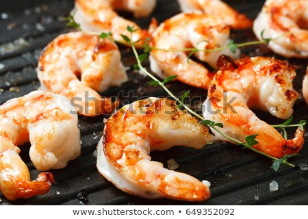 Deniz ürünleri plaka taze ızgara balık Stok fotoğraf © dariazu