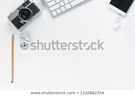 flat lay of workplace in office with business accessories corpo stock photo © yatsenko
