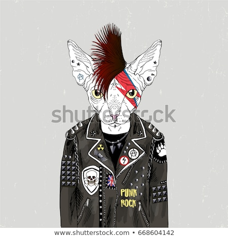 portrait of a punk in leather jacket stock photo © feedough