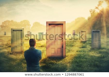 Diferente vida oportunidades homem em pé nebuloso Foto stock © psychoshadow