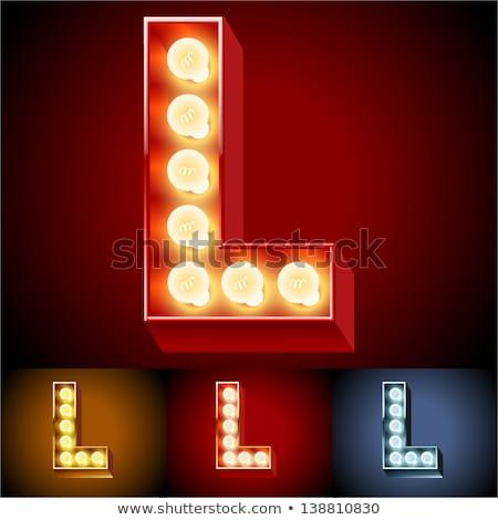 izzó · neon · betűtípus · fényes · l · betű · fekete - stock fotó © popaukropa