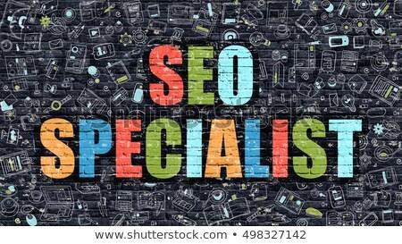 Seo specialista buio muro di mattoni doodle icone Foto d'archivio © tashatuvango