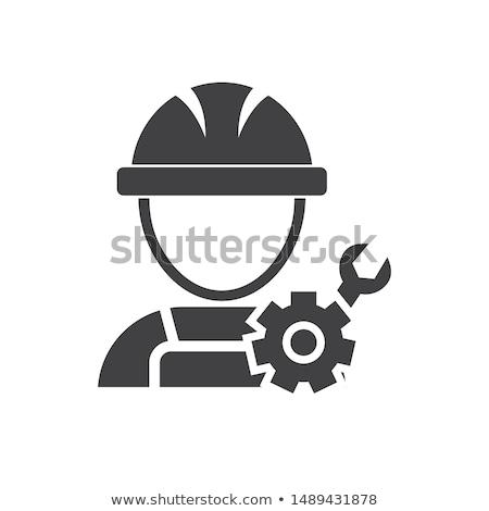 Gépi mérnöki ikon férfi sebességváltó fejlesztés Stock fotó © WaD