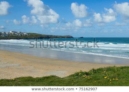 Fehér felhők fölött tengerpart Cornwall víz Stock fotó © latent