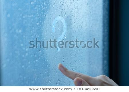 Vraag teken trekken regenachtig venster vinger Stockfoto © romvo