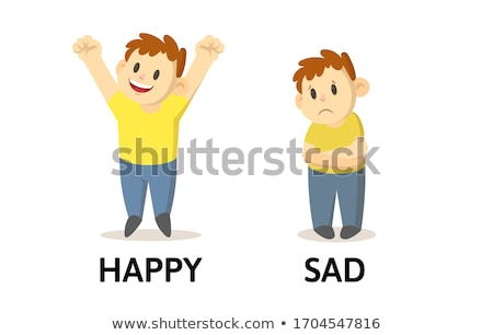 Engels woord triest gelukkig illustratie Stockfoto © bluering