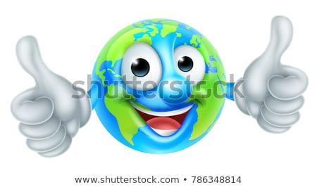 Föld napja remek kabala földgömb rajzfilmfigura világ Stock fotó © Krisdog