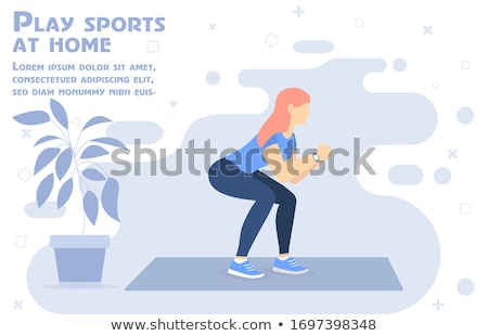 Home fitness - modern vector cartoon character illustration Stock photo © Decorwithme