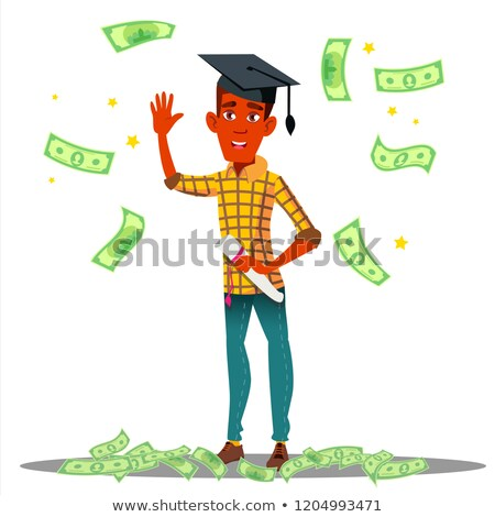 falling money on smiling student in graduate cap with diploma vector isolated illustration stock photo © pikepicture