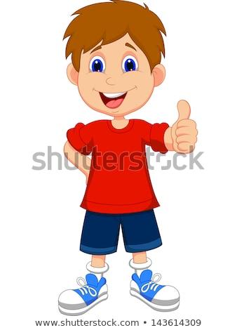 Cartoon jongen teken illustratie kind zwarte Stockfoto © cthoman