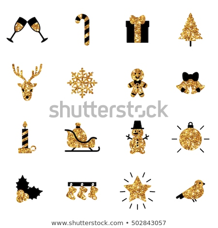 Foto stock: Colorful Vector Christmas Signs On Stickers Set