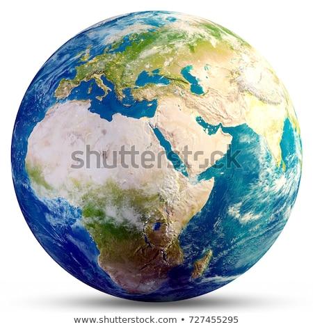 Dünya dünya turuncu mavi seyahat işaretleri Stok fotoğraf © lemony