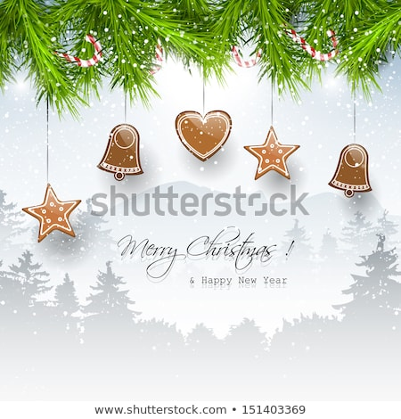 Christmas vector witte houten peperkoek wensen Stockfoto © TarikVision