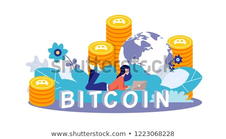 Bitcoin concept vector illustration of young girl using lap top for online funding and making invest Stock photo © makyzz