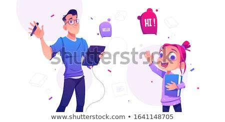 Cartoon pintor ilustración mujer feliz Foto stock © cthoman