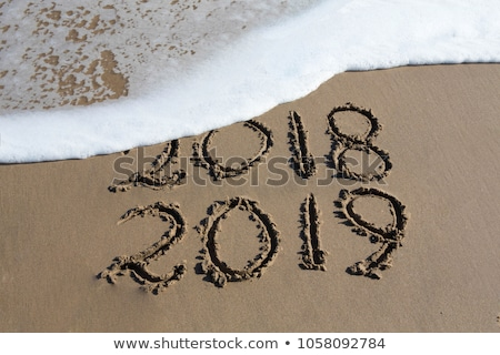 New Year 2019 is coming concept - inscription 2018 and 2019 on a beach sand, the wave is almost cove Stock photo © galitskaya