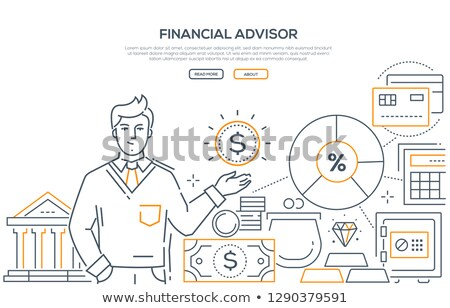Financial advisor - modern line design style web banner Stock photo © Decorwithme