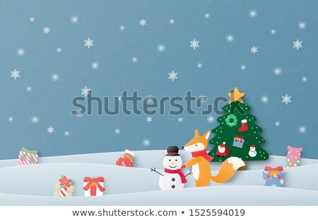 Happy christmas with kids in snowfield Stock photo © colematt