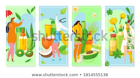 Cosmetician Cosmetic Face Care and Spa Set Vector Stock photo © robuart