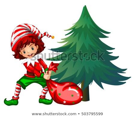 Elf dragging bag under the tree Stock photo © colematt