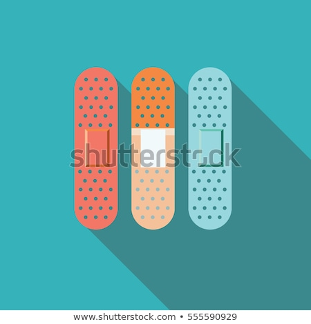 Band aid icon with shadow on a blue background. Medicine care object Stock photo © Imaagio