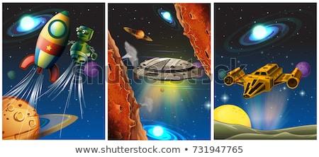Tres astronave robot espacio ilustración cielo Foto stock © colematt