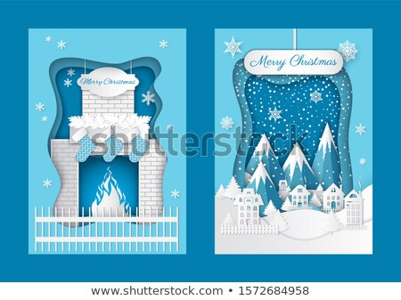 Merry Christmas Paper Cut Chimney Fireplace Socks Stock photo © robuart