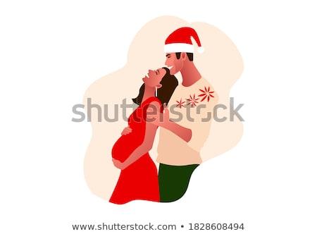 adam · hamile · kadın · Noel · gebelik · kış - stok fotoğraf © dolgachov