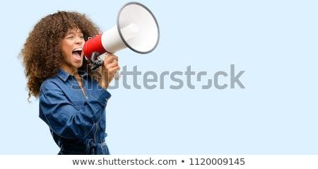 Nő kiált sikít kiabál megafon tiltakozás Stock fotó © diego_cervo