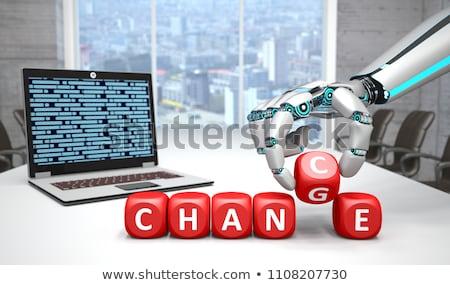 Insansı robot el defter eller klavye Stok fotoğraf © limbi007