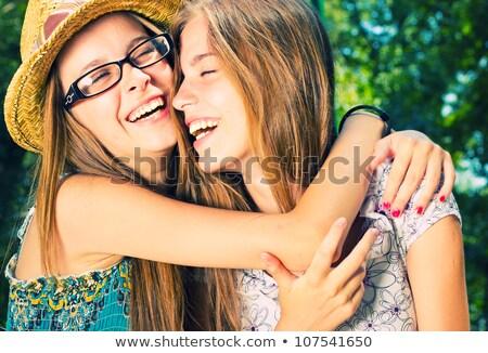 Fiatal lányok jókedv park boldog gyönyörű Stock fotó © dariazu