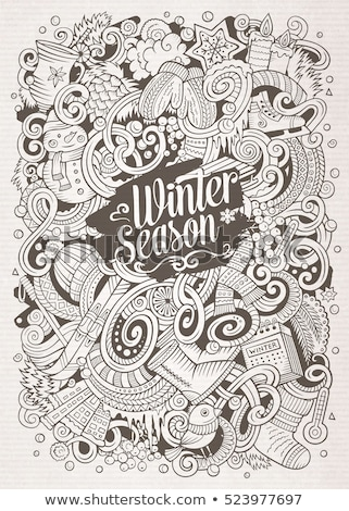 Cartoon doodles Winter illustration. Contour cold season funny picture Stock photo © balabolka