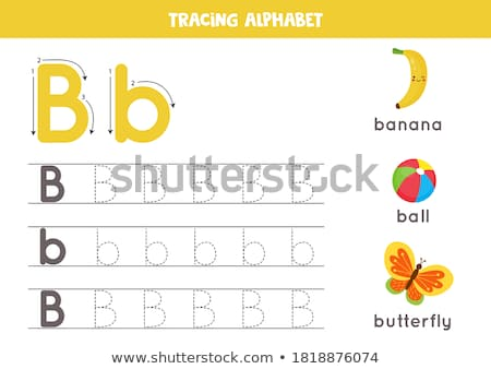letter B worksheet with cartoon butterfly Stock photo © izakowski