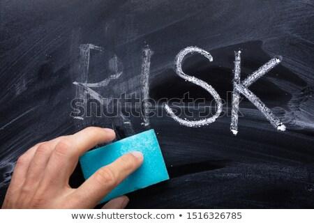 kockázat · közelkép · citromsárga · ceruza · szó · izolált - stock fotó © andreypopov
