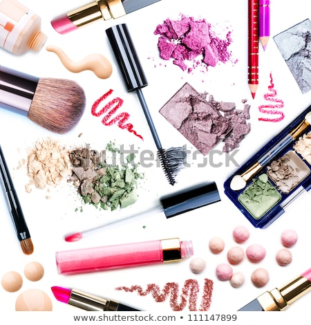 Eyeshadow palette and make-up brush on rouge background, eye sha Stock photo © Anneleven