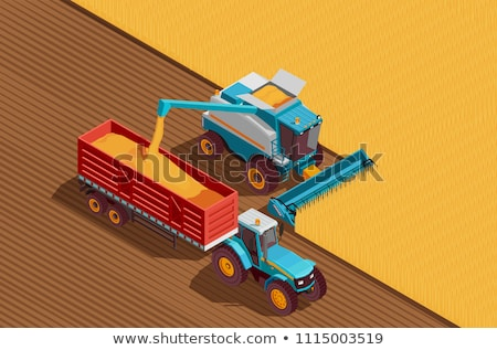 Vector isometric combine harvester and tractor at harvest Stock photo © tele52