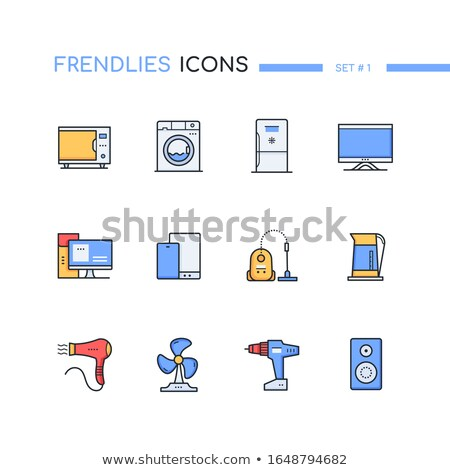 Household and office appliances computers - line design style icons set Stock photo © Decorwithme