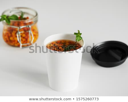 buckthorn tea with ginger and honey, Vitaminic healthy. Immune system booster food Stock photo © Illia