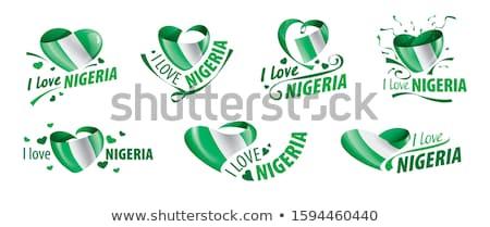 Banderą Nigeria napis miłości podpisania podróży Zdjęcia stock © butenkow