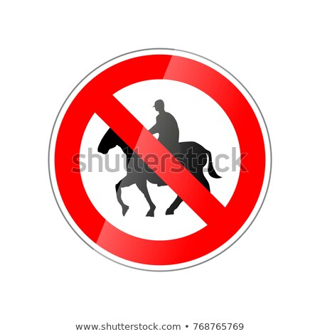 No horse ride allowed, forbidden red glossy sign on white Stock photo © evgeny89