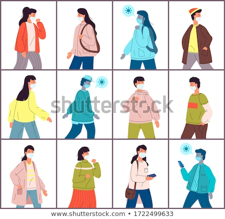 Set of illustrations with young healthy people, carrier virus in medical masks, viral pandemic Stock photo © robuart