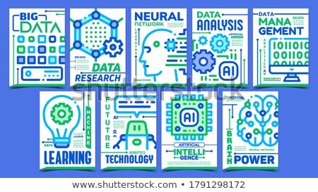 искусственный интеллект рекламный плакатов набор вектора данные Сток-фото © pikepicture