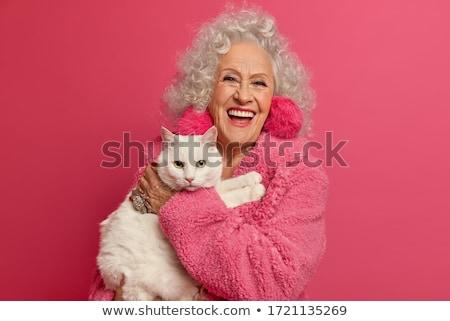 mulher · madura · rosto · sorridente · mulher · diversão · retrato - foto stock © smithore