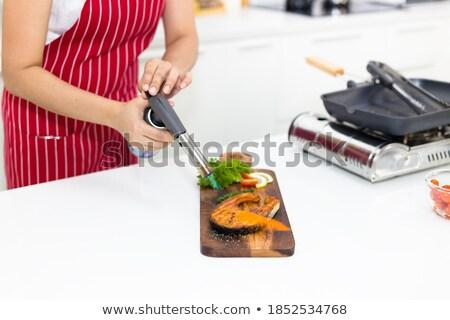 Vrouw blazen toorts brand bouw Stockfoto © photography33