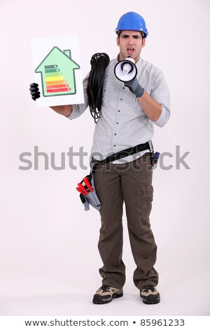 full-body portrait of electrician with loudspeaker Stock photo © photography33