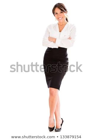 üzletasszony · mosolyog · izolált · mutat · copy · space · fehér - stock fotó © dash