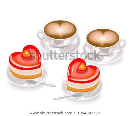 twee · vla · gebak · geïsoleerd · witte · cake - stockfoto © m-studio