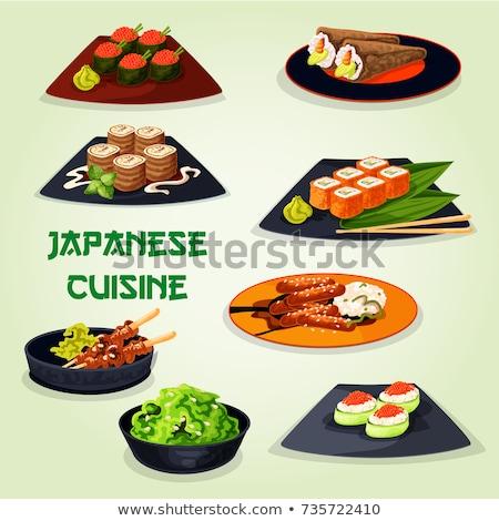 sushi · pepino · isolado · branco · comida · verde - foto stock © elmiko
