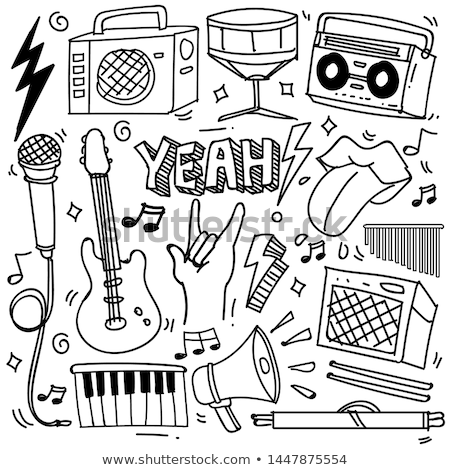 vector illustration for a musical theme with speakers stock photo © articular